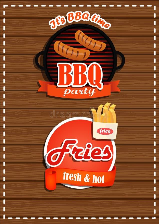 Un insieme del partito del BBQ delle etichette, fritture con un'insegna Un prodotto fresco illustrazione vettoriale