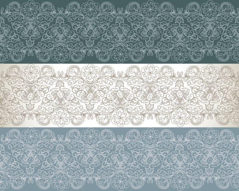 Un insieme del reticolo floreale senza giunte tre royalty illustrazione gratis