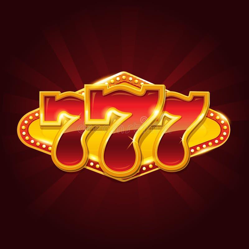 Un insieme del segno di posta del casinò dell'oro 777 illustrazione vettoriale