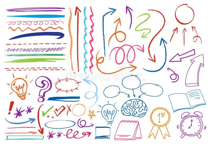 Un insieme del simbolo Colourful di scarabocchio illustrazione di stock
