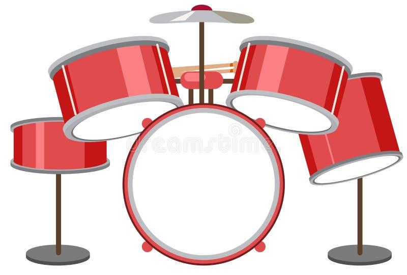 Un insieme del tamburo su fondo bianco illustrazione vettoriale