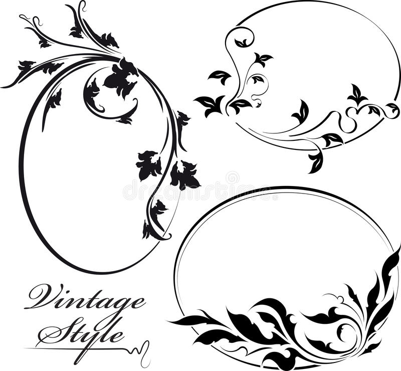 Un insieme del telaio ovale floreale decorativo tre illustrazione di stock