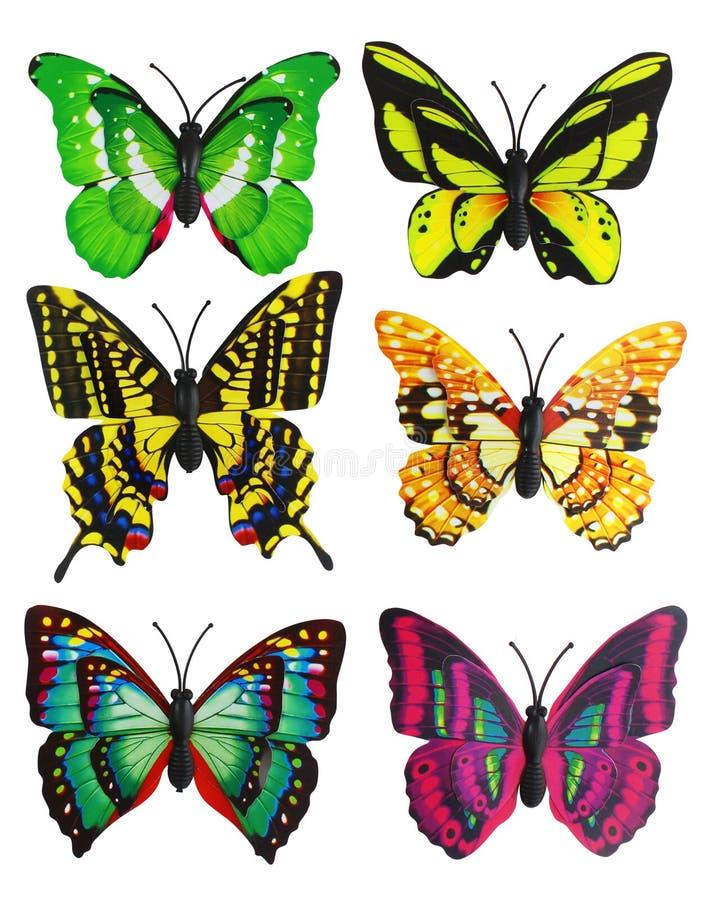 Un insieme dell'album per ritagli di sei di farfalle artificiali luminose colorate multi immagine stock