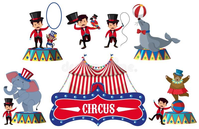 Un insieme dell'elemento del circo illustrazione di stock