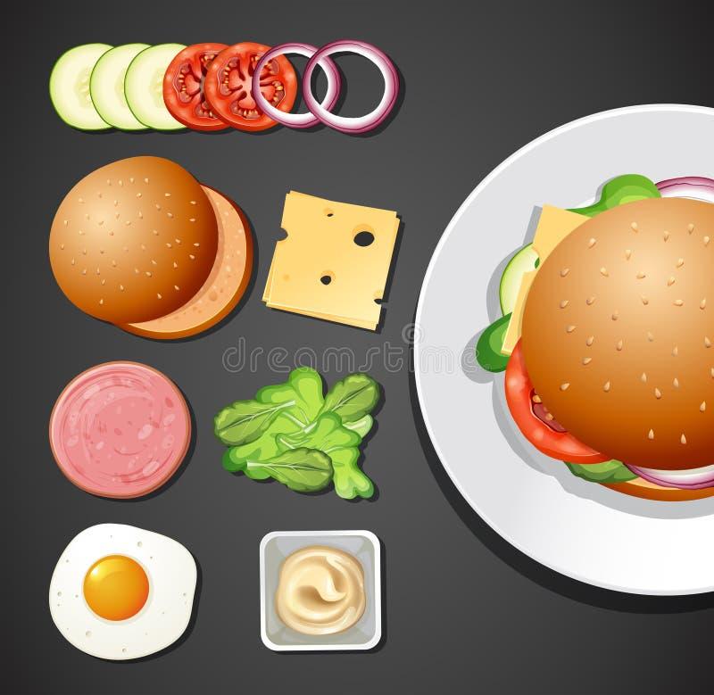 Un insieme dell'elemento dell'hamburger illustrazione di stock
