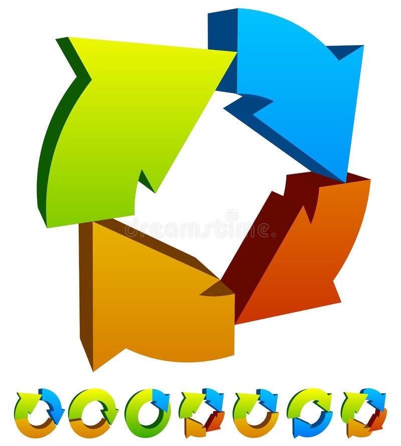 Un insieme dell'icona circolare variopinta della freccia 7 illustrazione vettoriale
