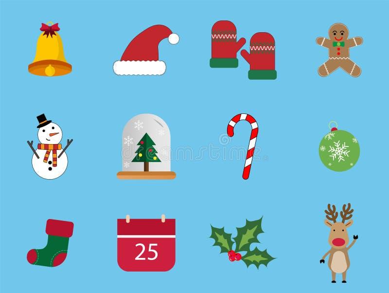 Un insieme dell'insieme dell'icona di natale 12 Le icone di giorno di Natale possono essere utilizzate nell'affare di pubblicità  illustrazione vettoriale