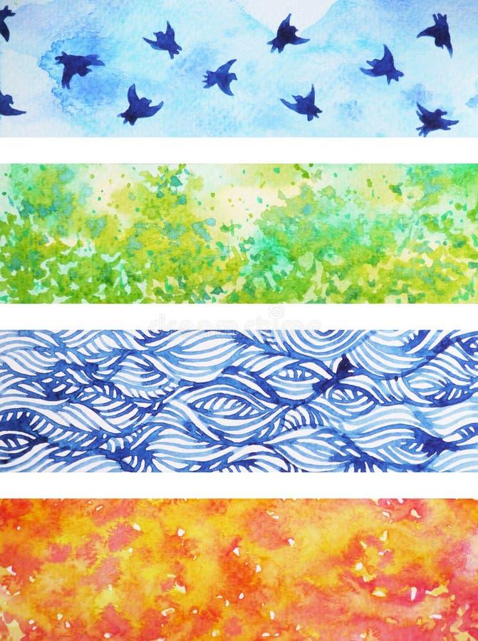 Un insieme dell'illustrazione di progettazione della pittura dell'acquerello del fondo di 4 stagioni illustrazione vettoriale