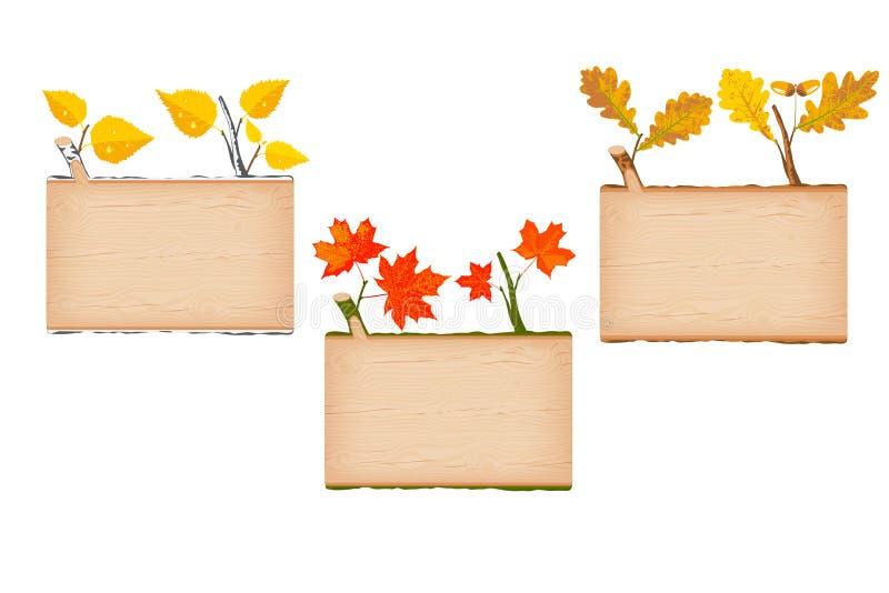 Un insieme dell'insegna rettangolare di legno strutturata naturale del ceppo tre illustrazione vettoriale