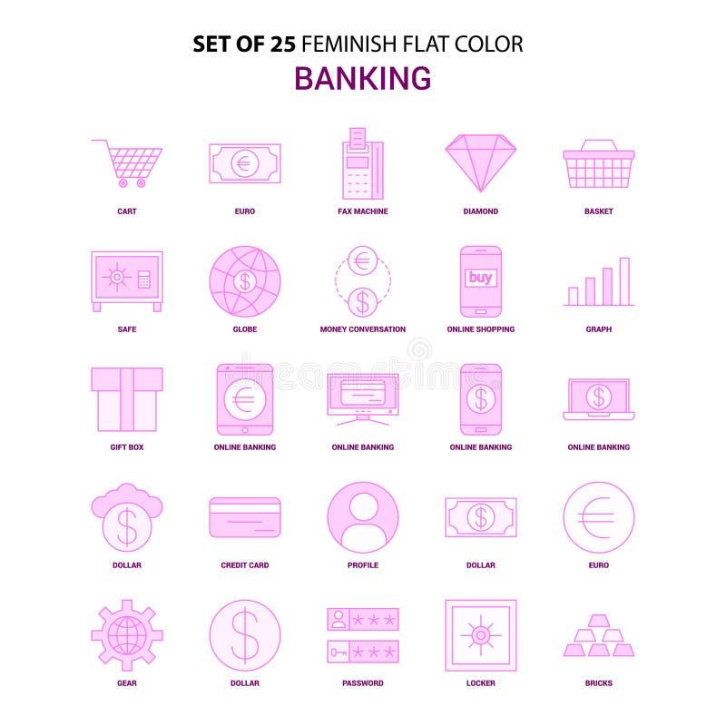 Un insieme dell'insieme rosa dell'icona di colore piano di attività bancarie di 25 Feminish illustrazione di stock