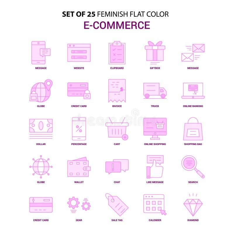 Un insieme dell'insieme rosa dell'icona di colore piano di commercio elettronico di 25 Feminish royalty illustrazione gratis
