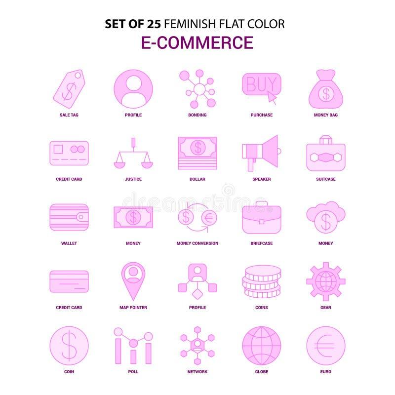 Un insieme dell'insieme rosa dell'icona di colore piano di commercio elettronico di 25 Feminish illustrazione vettoriale