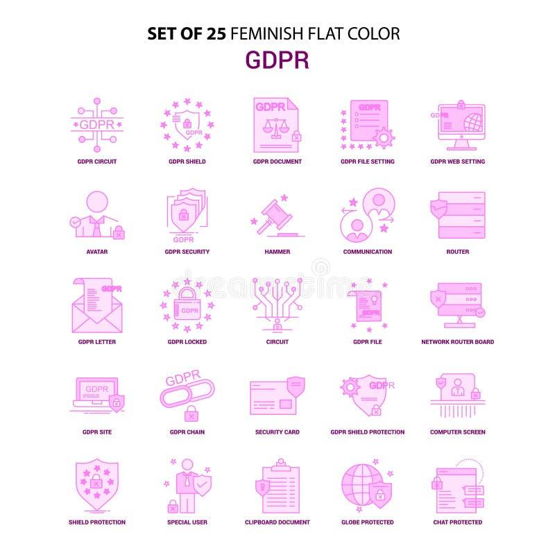Un insieme 25 dell'insieme rosa dell'icona di colore piano di Feminish GDPR illustrazione di stock