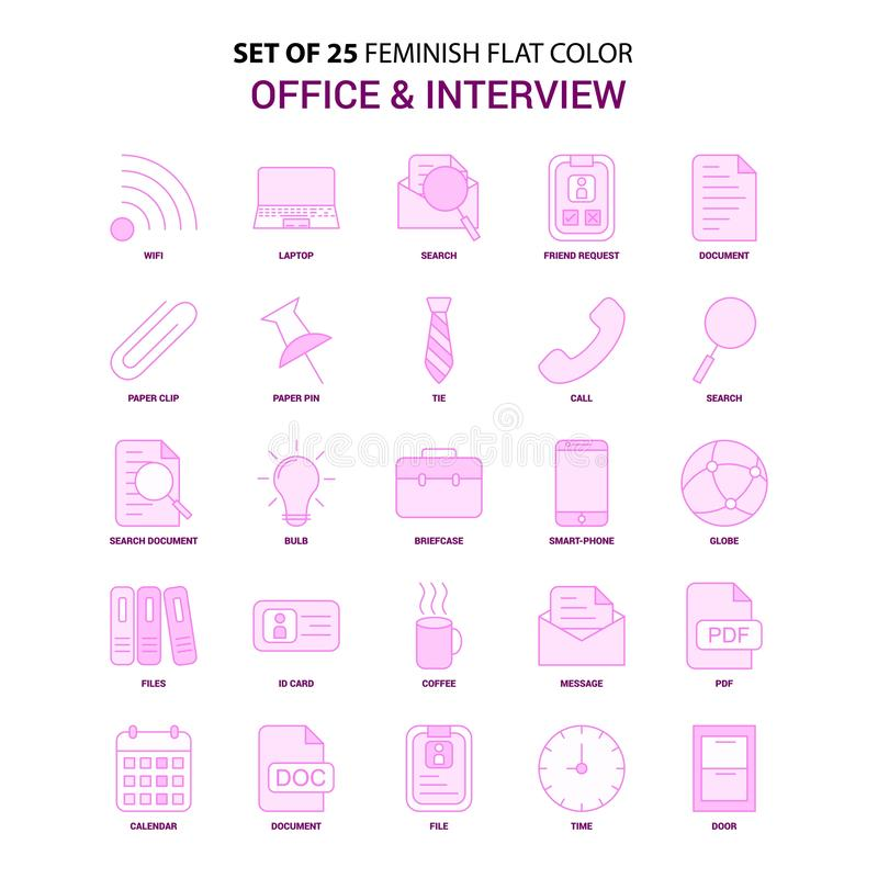 Un insieme dell'ufficio di 25 Feminish e dell'insieme rosa dell'icona di colore piano di intervista royalty illustrazione gratis