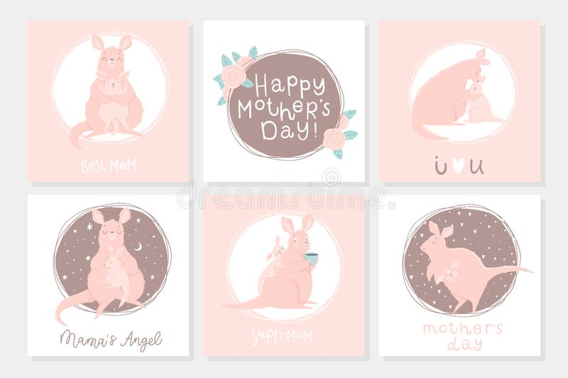 Un insieme della cartolina pronta per l'uso sveglia del regalo 6 con il canguro adorabile della madre ed il suo bambino royalty illustrazione gratis