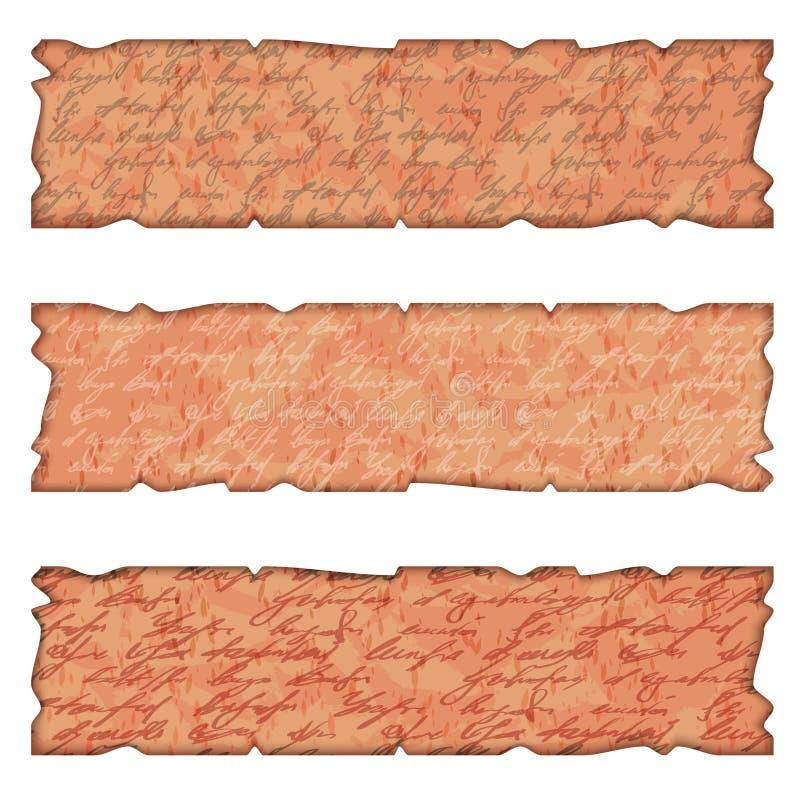 Un insieme della casella di testo tre nel vecchio stile illustrazione di stock