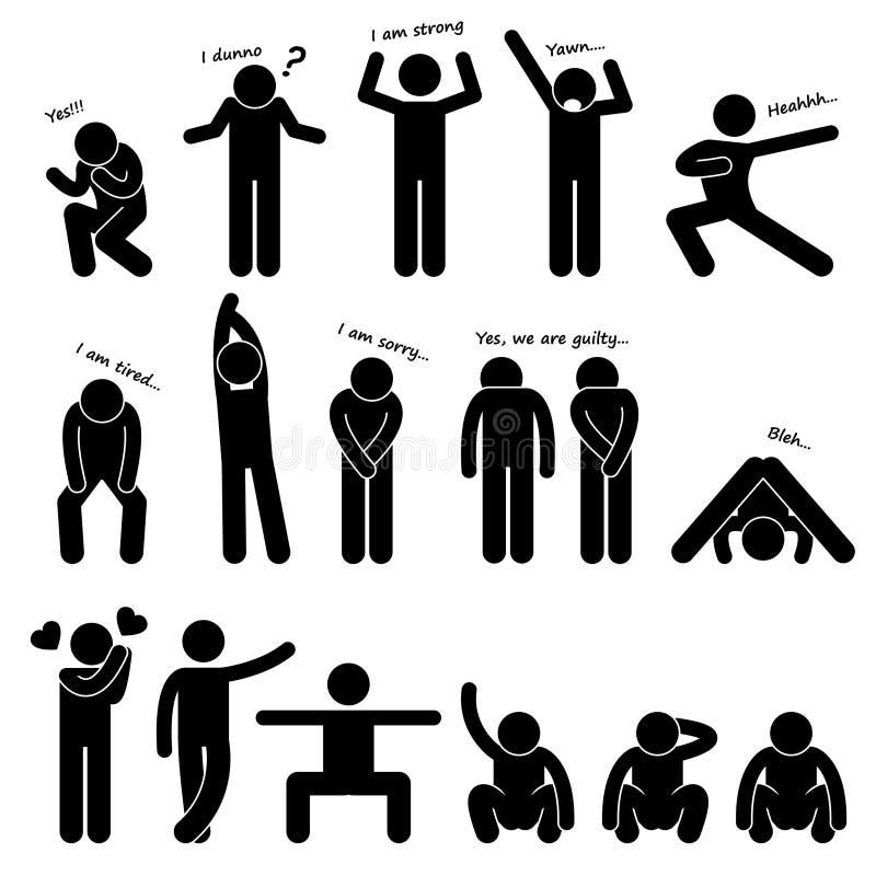 Pittogramma di linguaggio del corpo di posizione della gente dell'uomo illustrazione vettoriale