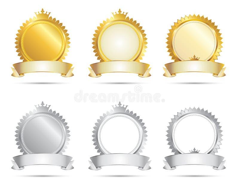 Un insieme della guarnizione dell'argento & dell'oro illustrazione di stock