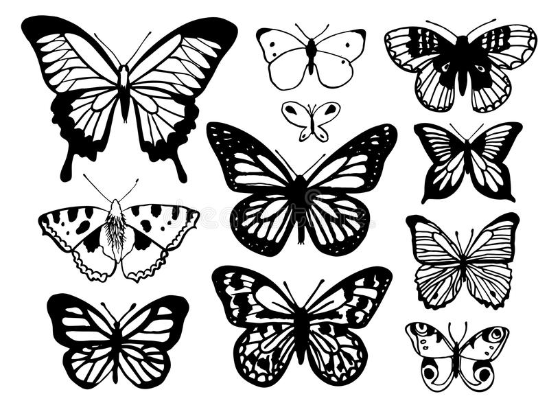 Un insieme della mano ha schizzato le farfalle su un fondo bianco illustrazione vettoriale