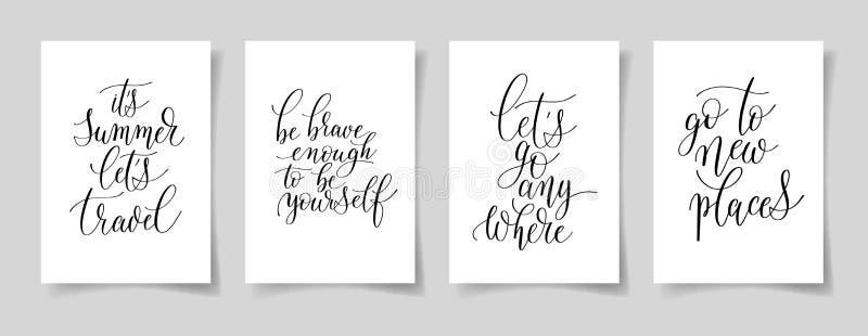 Un insieme della mano quattro scritta segnando il positivo con lettere cita su carta A4 royalty illustrazione gratis