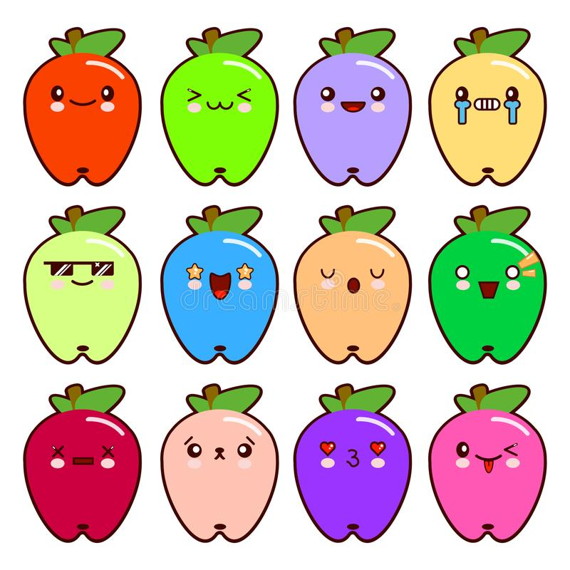 Un insieme della mela sveglia del fumetto di 12 emoticon moderni con differenti emozioni Stile piano dell'illustrazione di vettor royalty illustrazione gratis