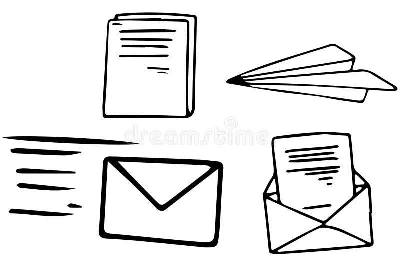 Un insieme della posta di scarabocchio illustrazione vettoriale