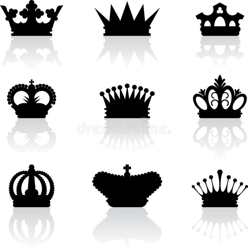 Icone della corona di re illustrazione di stock