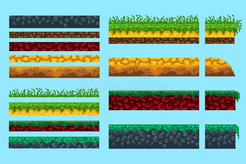 Un insieme delle basi per creare il paesaggio senza cuciture del pixel illustrazione vettoriale