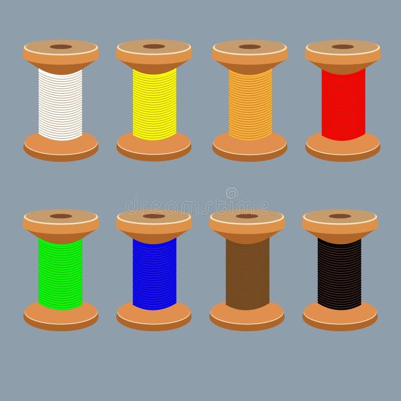 Un insieme delle bobine con dei i fili colorati multi royalty illustrazione gratis