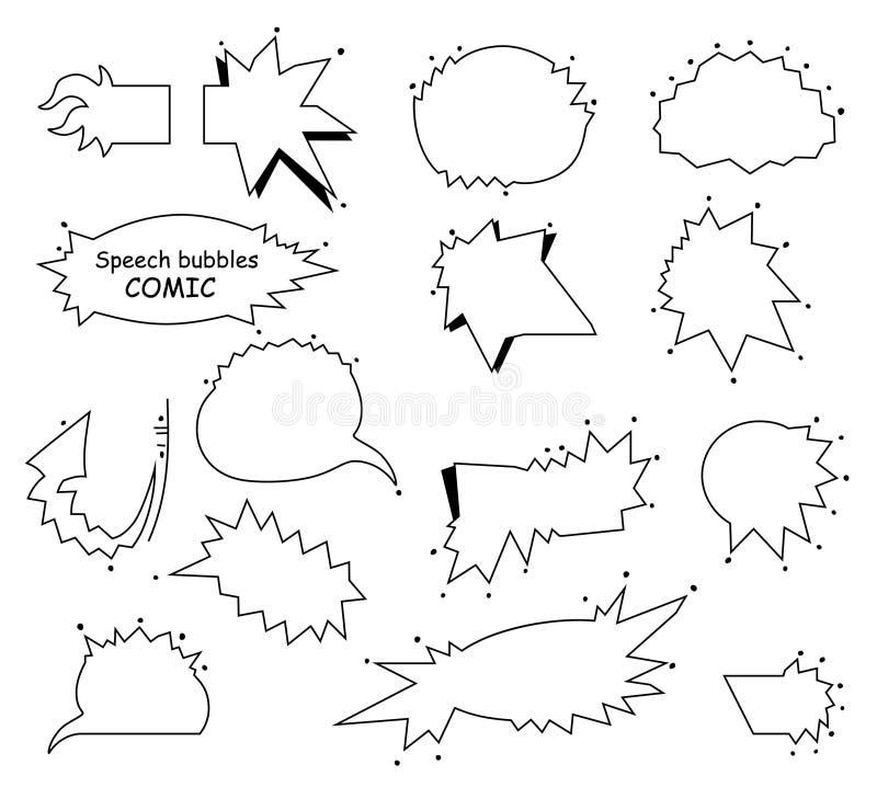 Un insieme delle bolle e degli elementi vuoti comici Fumetti in bianco, progettazione della struttura di Pop art Vettore illustrazione di stock