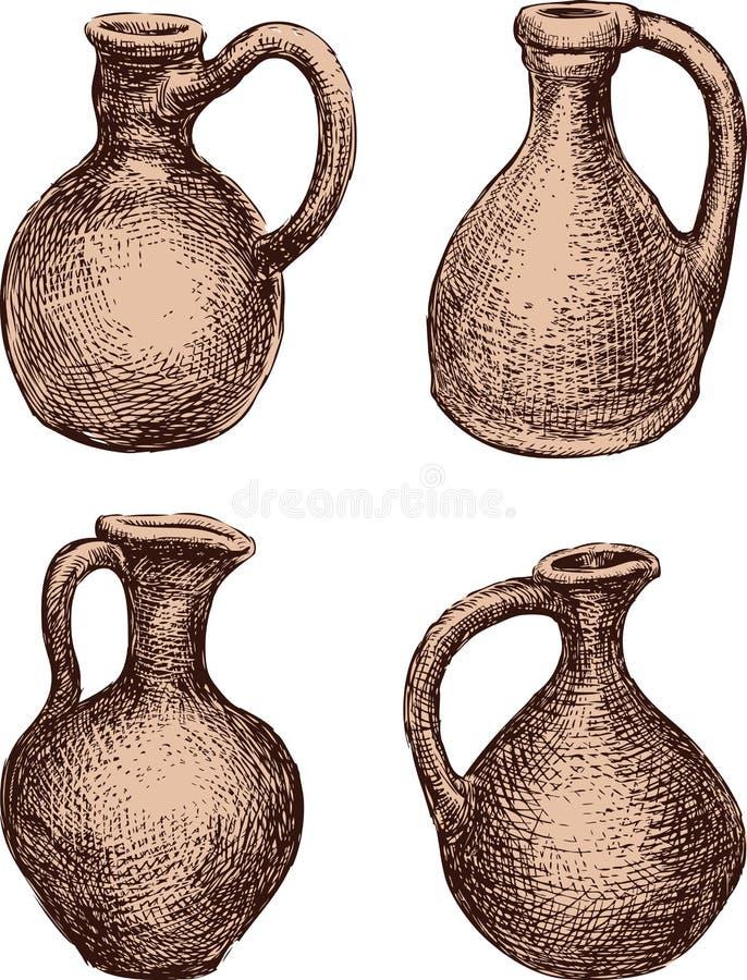 Un insieme delle brocche dell'argilla royalty illustrazione gratis