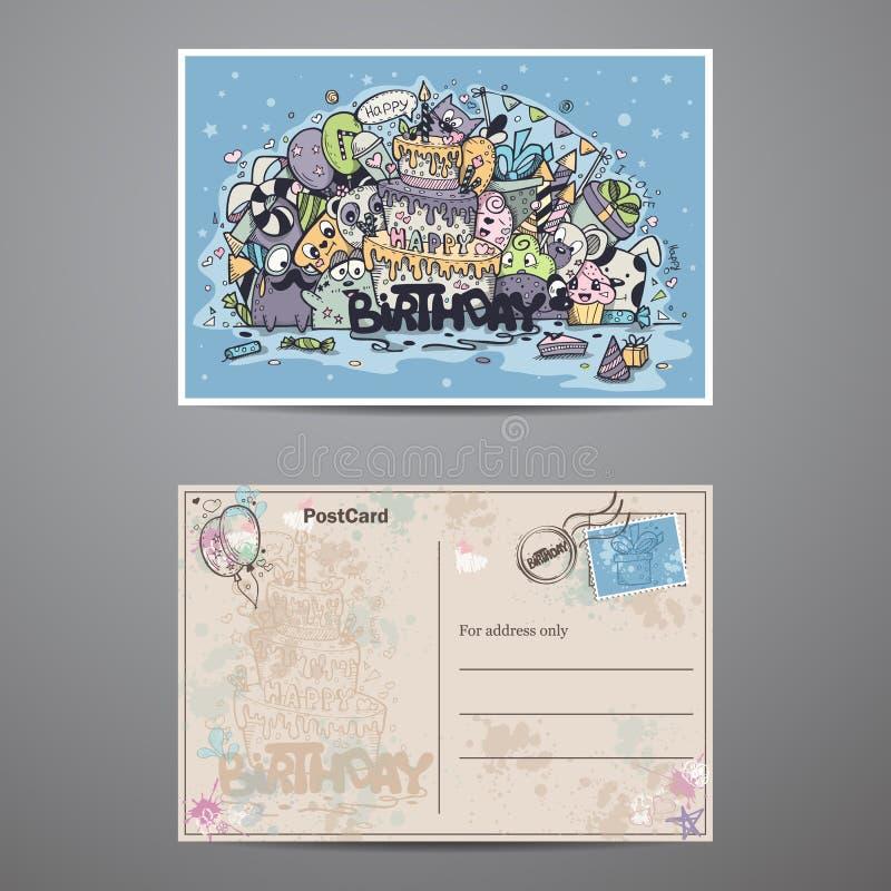 Un insieme delle carte bilaterali per la festa di compleanno illustrazione vettoriale