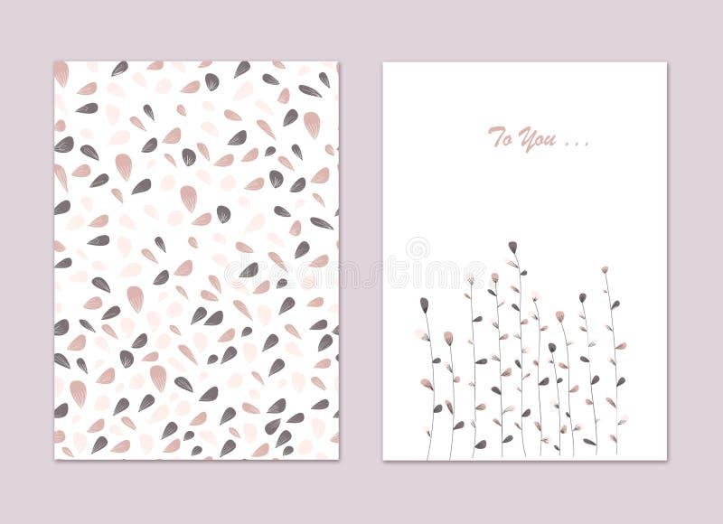 Un insieme delle cartoline d'auguri con le foglie variopinte e le piante Per gli inviti, congratulazioni, illustrazione di stock