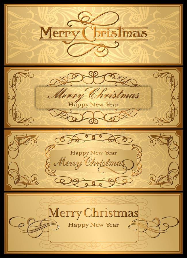 Un insieme delle cartoline di Natale. 04 (vettore) illustrazione di stock