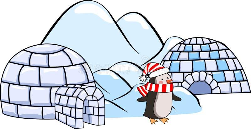Un insieme delle case dell'iglù di inverno, pinguino in sciarpa ed in cappello ed in banchise rossi e bianchi illustrazione di stock