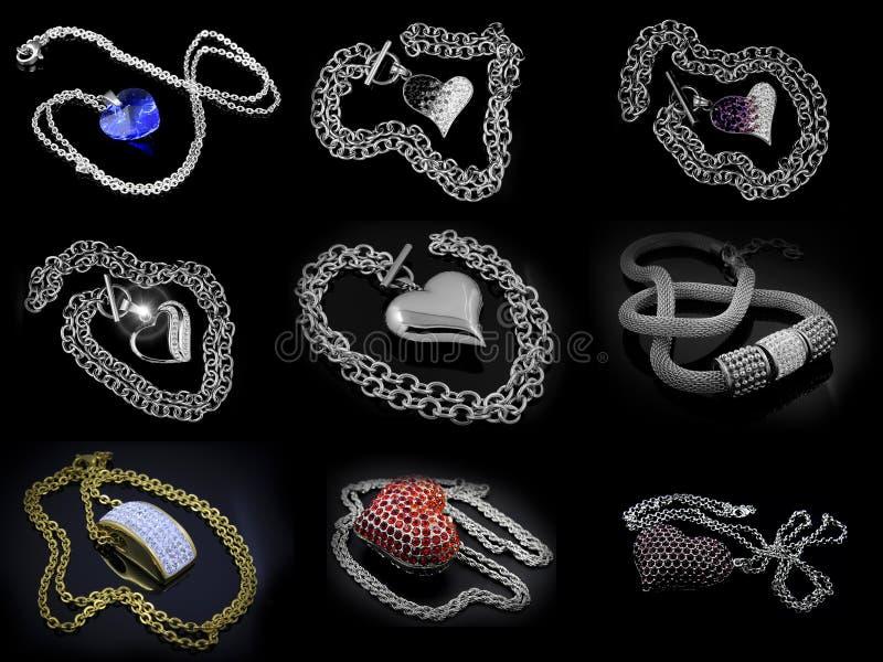 Un insieme delle collane delle foto - acciaio inossidabile illustrazione vettoriale