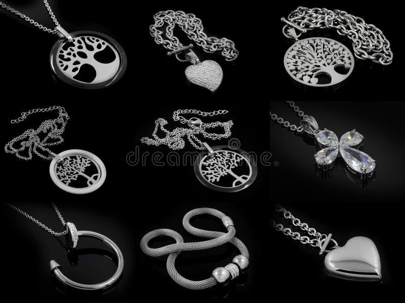 Un insieme delle collane delle foto - acciaio inossidabile illustrazione di stock