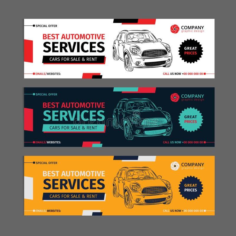 Un insieme delle disposizioni automobilistiche della raccolta delle insegne di servizi di web illustrazione di stock