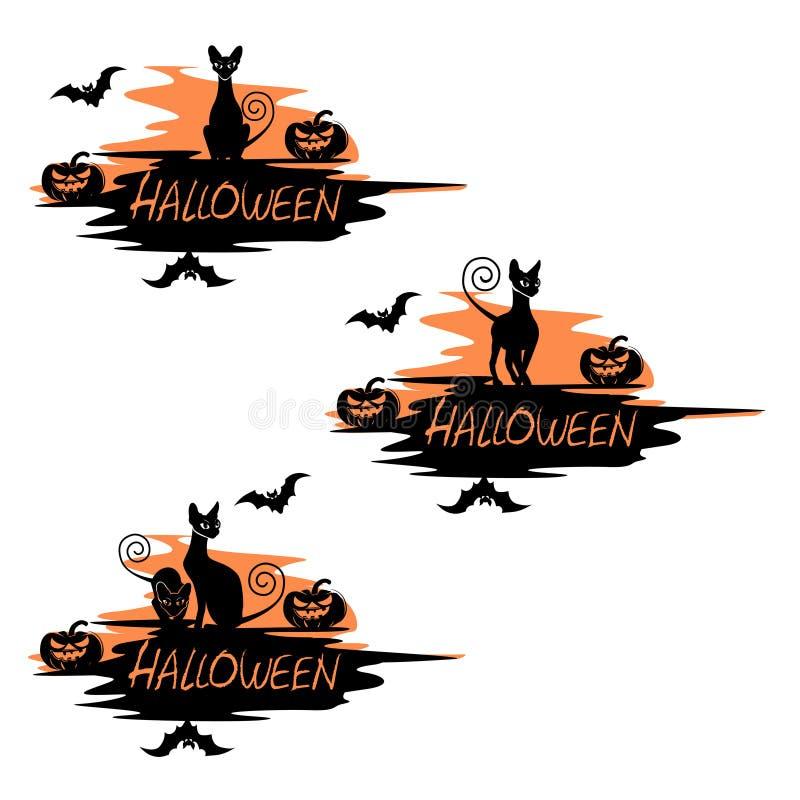 Un insieme delle etichette di festa per Halloween con un gatto nero illustrazione vettoriale