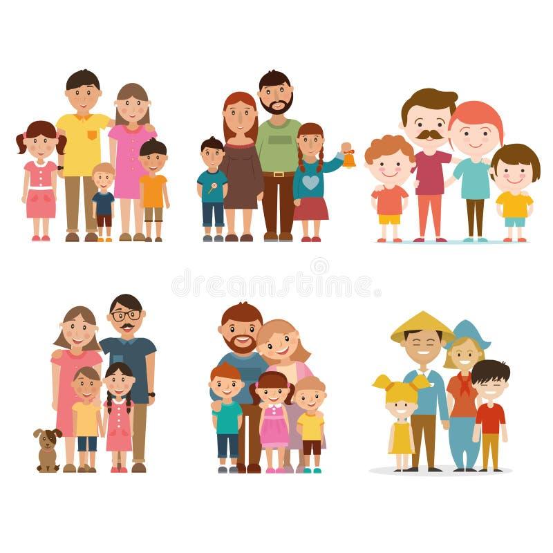 Un insieme delle famiglie felici royalty illustrazione gratis