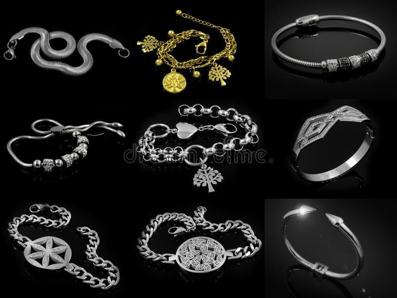 Un insieme delle foto - gioielli - braccialetti per le donne illustrazione vettoriale