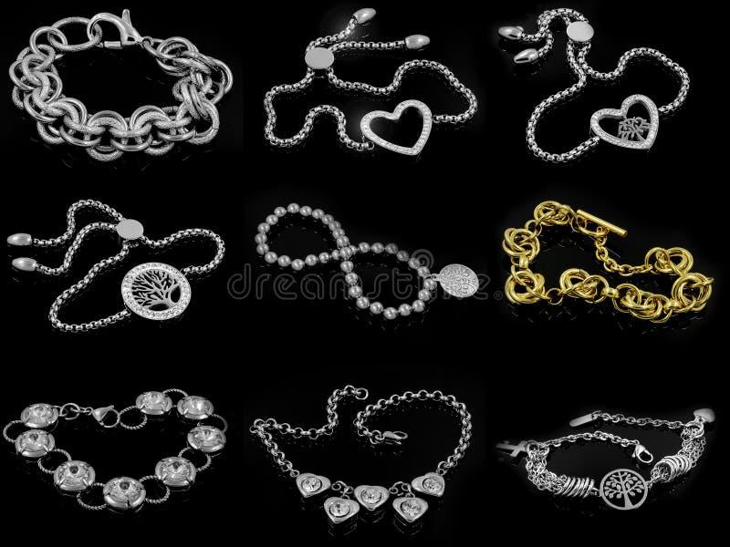 Un insieme delle foto - gioielli - braccialetti per le donne royalty illustrazione gratis