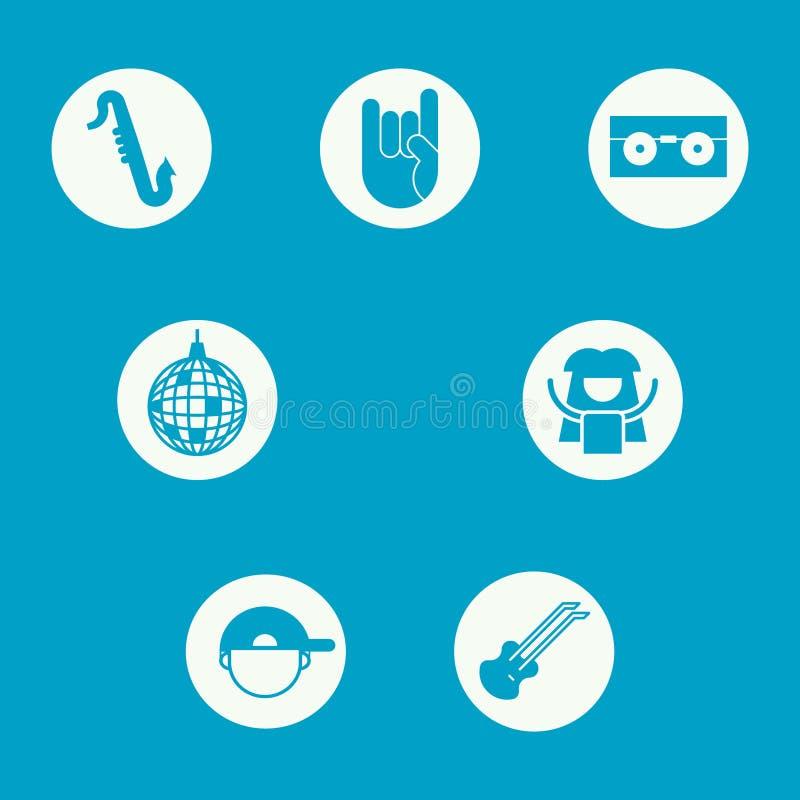 Un insieme delle icone che rappresentano i generi differenti di musica royalty illustrazione gratis