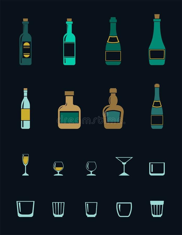 Un insieme delle icone colorate delle bevande alcoliche royalty illustrazione gratis