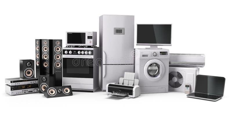 Un insieme delle icone degli apparecchi di cucina per il vostro disegno Fornello di gas, cinema della TV, conditi dell'aria del f illustrazione vettoriale