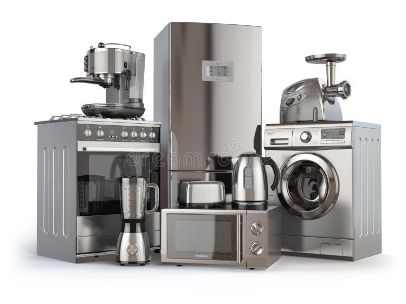 Un insieme delle icone degli apparecchi di cucina per il vostro disegno Fornello di gas, frigorifero, microonda e washi illustrazione vettoriale