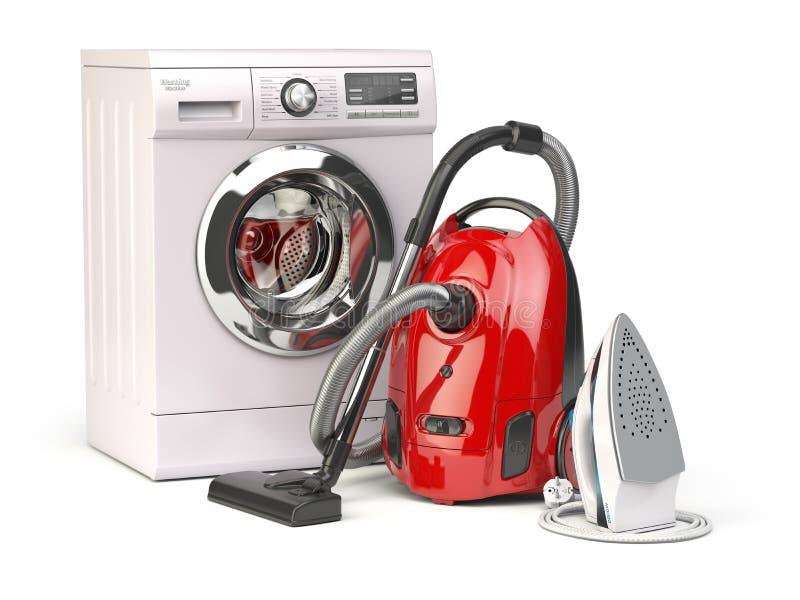 Un insieme delle icone degli apparecchi di cucina per il vostro disegno Gruppo di aspirapolvere, ferro e mach lavare illustrazione vettoriale