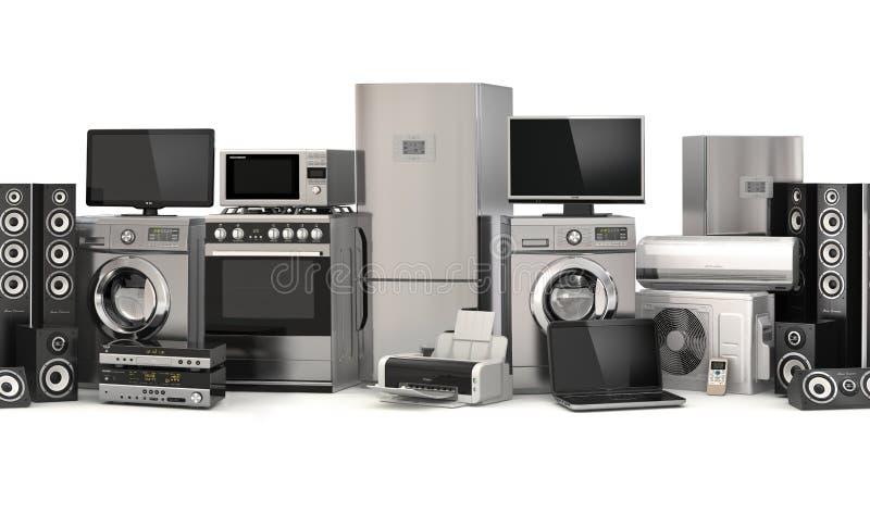 Un insieme delle icone degli apparecchi di cucina per il vostro disegno Reticolo senza giunte Fornello, cinema della TV, refriger illustrazione di stock