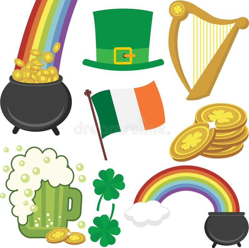 Un insieme delle icone di giorno del ` s di St Patrick illustrazione vettoriale