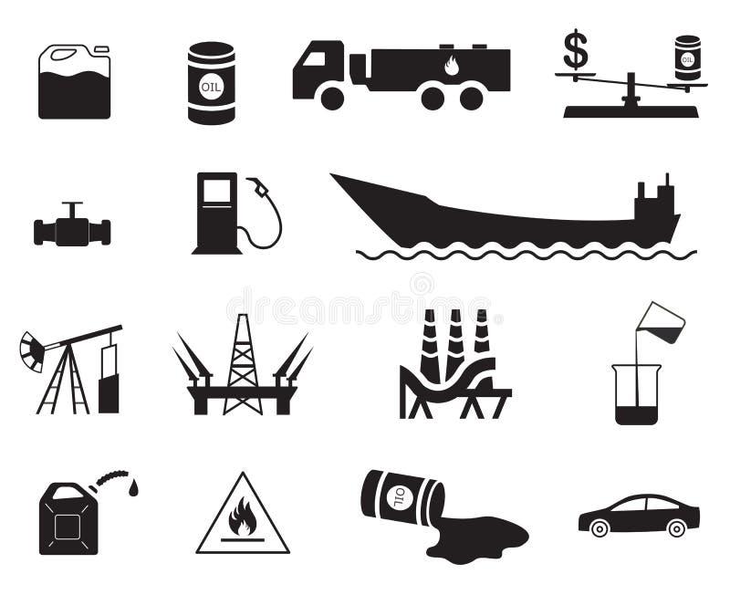 Un insieme delle icone di produzione di petrolio quindici e di distribuzione/trasporto illustrazione di stock
